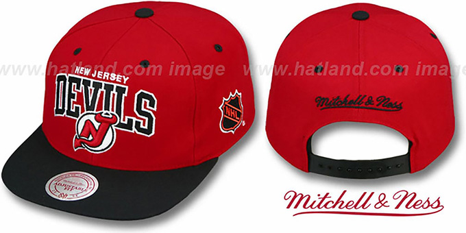 Devils '2T TEAM ARCH SNAPBACK' Adjustable Hat by Mitchell & Ness : pictured without stickers that these products are shipped with