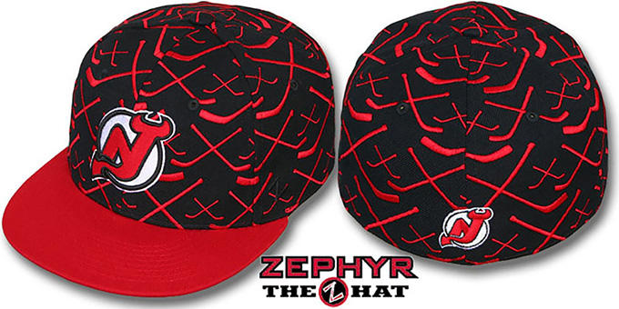 Devils '2T TOP-SHELF' Black-Red Fitted Hat by Zephyr : pictured without stickers that these products are shipped with