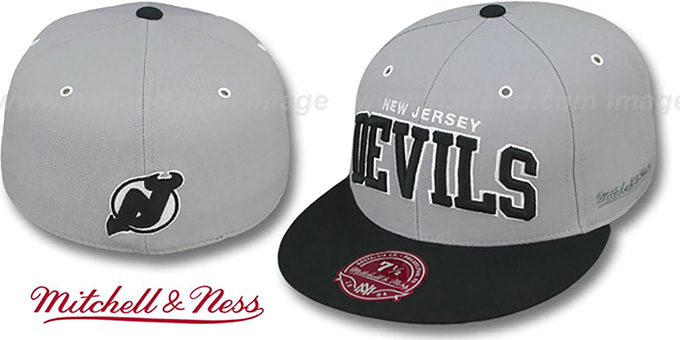 Devils '2T XL-WORDMARK' Grey-Black Fitted Hat by Mitchell & Ness : pictured without stickers that these products are shipped with