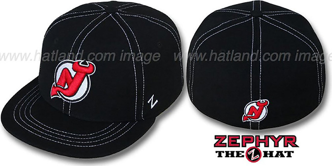 Devils 'CONTRAST THREAT' Black Fitted Hat by Zephyr : pictured without stickers that these products are shipped with