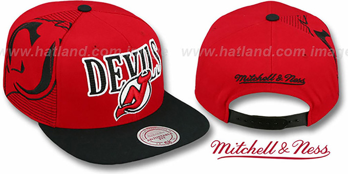 Devils 'LASER-STITCH SNAPBACK' Red-Black Hat by Mitchell & Ness : pictured without stickers that these products are shipped with