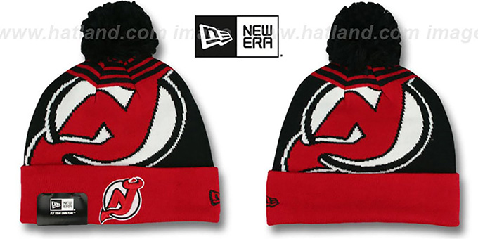 Devils 'LOGO WHIZ' Black-Red Knit Beanie Hat by New Era : pictured without stickers that these products are shipped with