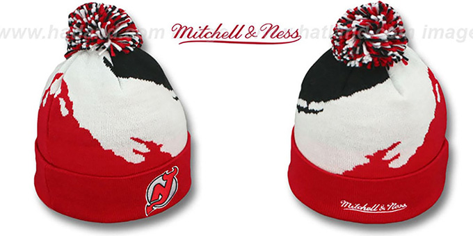 Devils 'PAINTBRUSH BEANIE' by Mitchell and Ness : pictured without stickers that these products are shipped with
