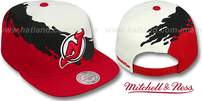 Devils 'PAINTBRUSH SNAPBACK' White-Black-Red Hat by Mitchell & Ness : pictured without stickers that these products are shipped with