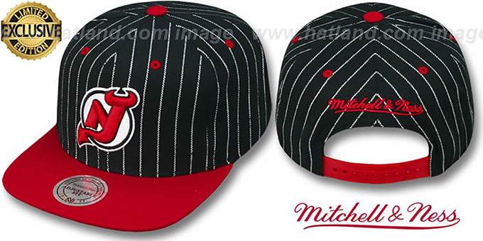 Devils 'PINSTRIPE 2T TEAM-BASIC SNAPBACK' Black-Red Adjustable Hat by Mitchell & Ness : pictured without stickers that these products are shipped with