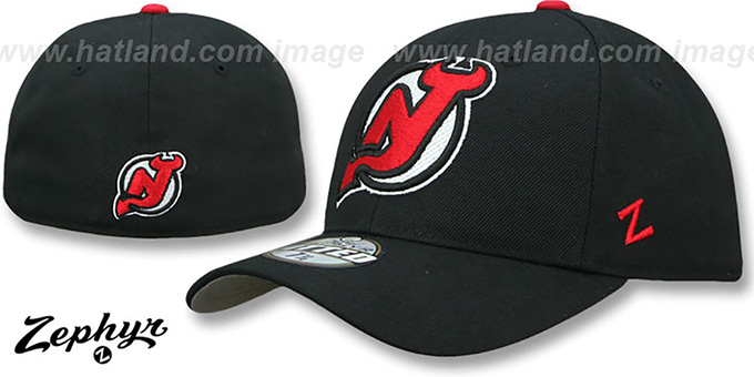 Devils 'SHOOTOUT' Black Fitted Hat by Zephyr