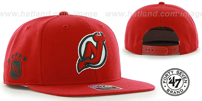 Devils 'SURE-SHOT SNAPBACK' Red Hat by Twins 47 Brand : pictured without stickers that these products are shipped with