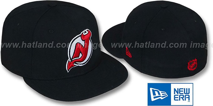 fd95bb2ee268b2 ... New Era. Devils 'TEAM-BASIC' Black Fitted Hat by ...