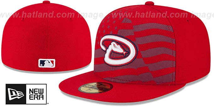 Diamondbacks '2015 JULY 4TH STARS N STRIPES' Hat by New Era : pictured without stickers that these products are shipped with