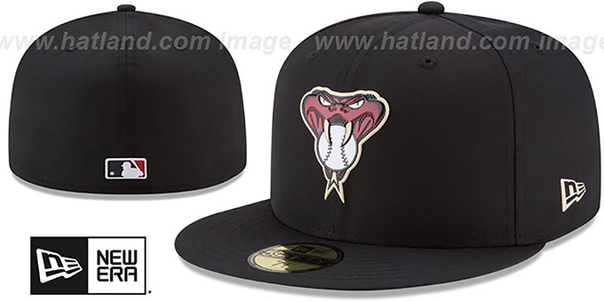 Diamondbacks '2018 PROLIGHT-BP' Black Fitted Hat by New Era : pictured without stickers that these products are shipped with