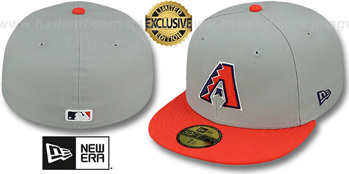 Diamondbacks '2T OPPOSITE-TEAM' Grey-Orange Fitted Hat by New Era : pictured without stickers that these products are shipped with
