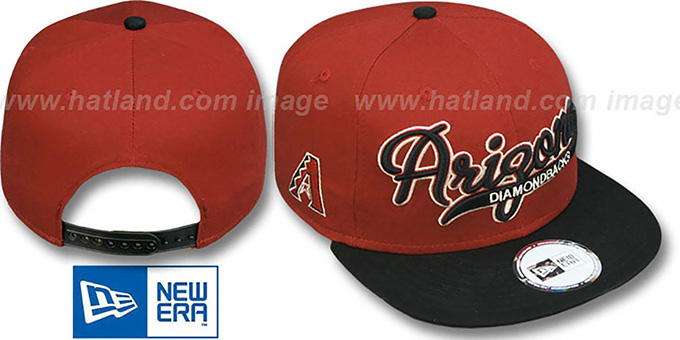 Diamondbacks '2T SCRIPTER SNAPBACK' Brick-Black Hat by New Era : pictured without stickers that these products are shipped with