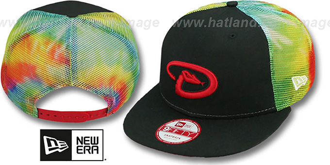 Diamondbacks 'MESH TYE-DYE SNAPBACK' Hat by New Era : pictured without stickers that these products are shipped with