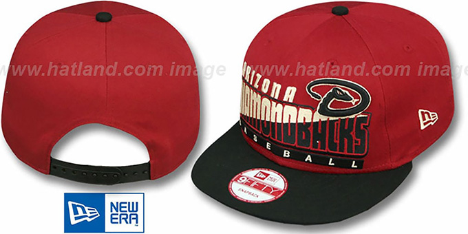Diamondbacks 'SLICE-N-DICE SNAPBACK' Brick-Black Hat by New Era : pictured without stickers that these products are shipped with