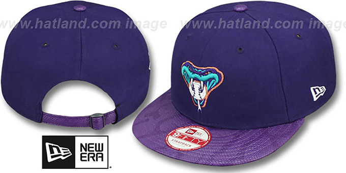 Diamondbacks 'SNAKE-THRU STRAPBACK' Purple Adjustable Hat by New Era : pictured without stickers that these products are shipped with