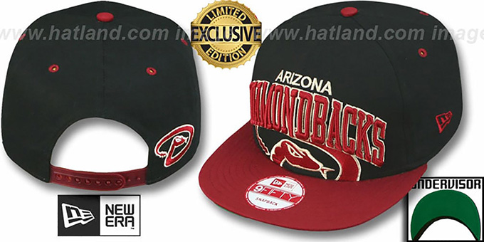 Diamondbacks 'SUPER-LOGO ARCH SNAPBACK' Black-Brick Hat by New Era : pictured without stickers that these products are shipped with