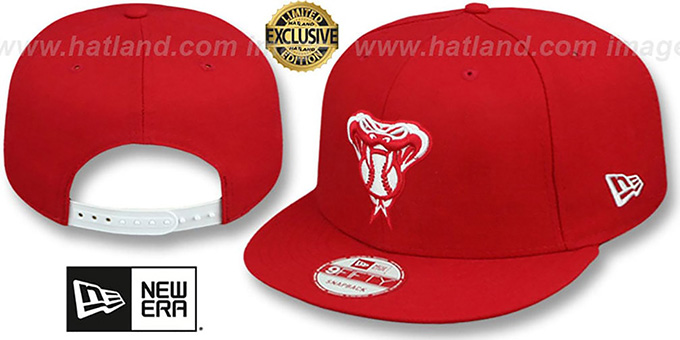 Diamondbacks 'TEAM-BASIC SNAPBACK' Red-White Hat by New Era : pictured without stickers that these products are shipped with