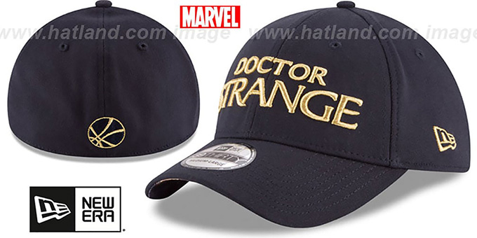 Doctor Strange 'SCRIPT FLEX' Navy Hat by New Era : pictured without stickers that these products are shipped with