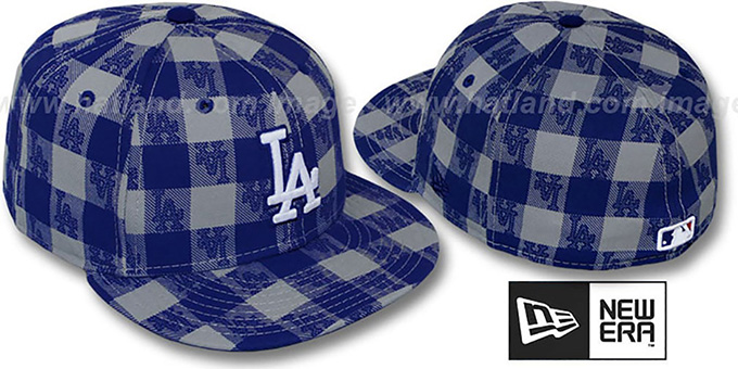 Dodgers  'BUFFALO PLAID' Grey-Royal Fitted Hat by New Era : pictured without stickers that these products are shipped with