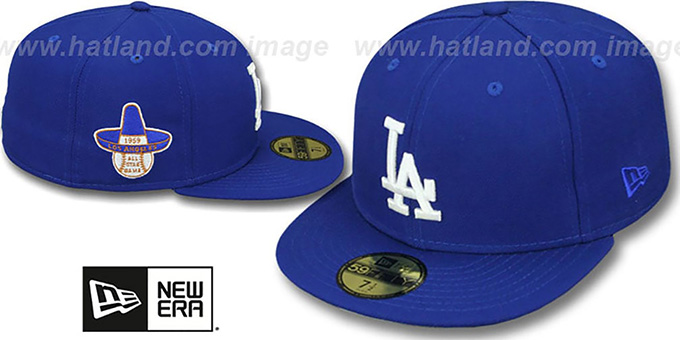 Dodgers 1959 'SIDE ALL-STAR-PATCH' Fitted Hat by New Era : pictured without stickers that these products are shipped with