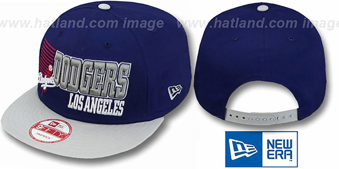 Dodgers '2T BORDERLINE SNAPBACK' Royal-Grey Hat by New Era : pictured without stickers that these products are shipped with