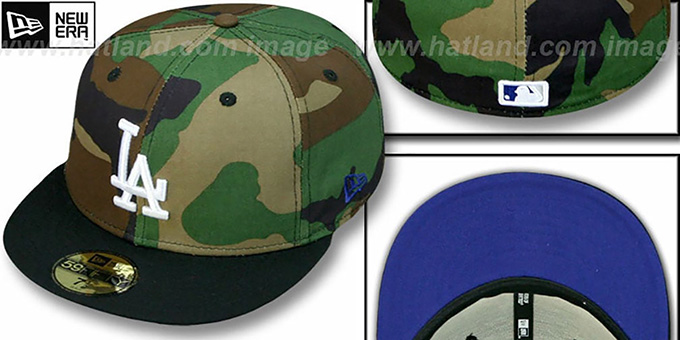 Dodgers '2T CAMO' Army-Black Fitted Hat by New Era : pictured without stickers that these products are shipped with