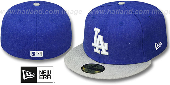 Dodgers '2T-HEATHER ACTION' Royal-Grey Fitted Hat by New Era : pictured without stickers that these products are shipped with