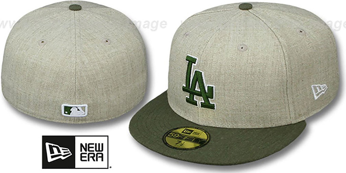 Dodgers '2T-HEATHER ACTION' Tan-Olive Fitted Hat by New Era : pictured without stickers that these products are shipped with