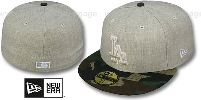 Dodgers '2T-HEATHER' Oatmeal-Army Fitted Hat by New Era : pictured without stickers that these products are shipped with