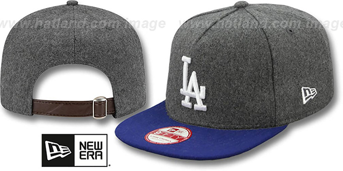 Dodgers '2T MELTON A-FRAME STRAPBACK' Hat by New Era : pictured without stickers that these products are shipped with