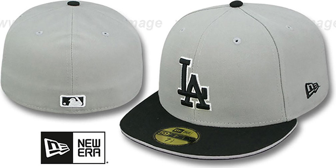 Dodgers '2T SPLIT TEAM-BASIC' Grey-Black Fitted Hat by New Era : pictured without stickers that these products are shipped with
