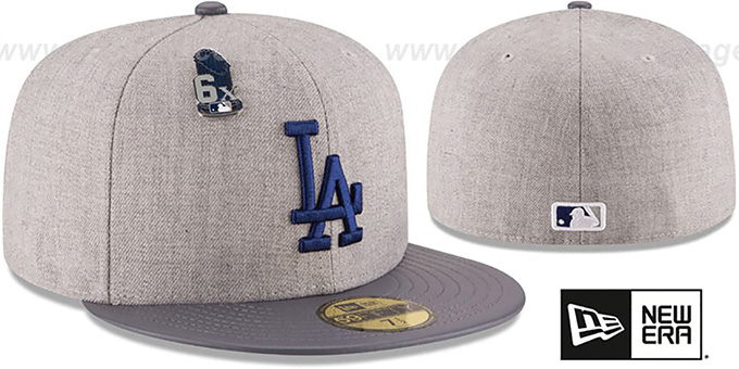 Dodgers 6X 'HEATHER-PIN' Grey Fitted Hat by New Era : pictured without stickers that these products are shipped with