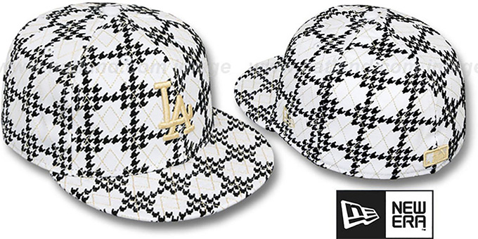 Dodgers 'A-TOOTH' White-Black Fitted Hat by New Era : pictured without stickers that these products are shipped with