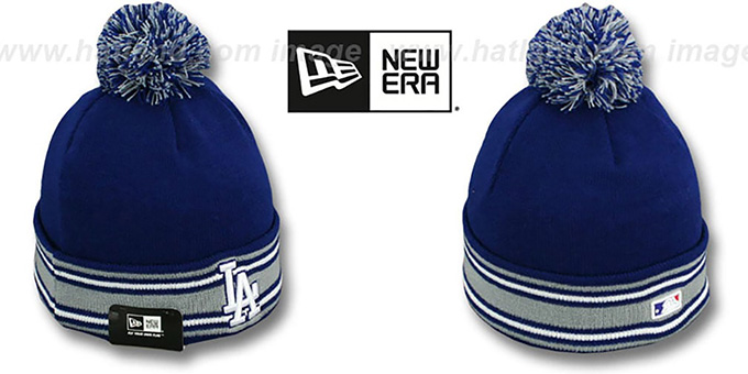 Dodgers 'AC-ONFIELD' Royal Knit Beanie Hat by New Era : pictured without stickers that these products are shipped with