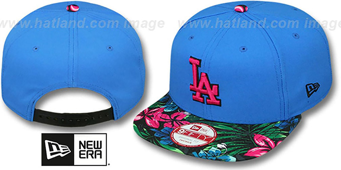 Dodgers 'AMAZON BLOOM SNAPBACK' Blue-Multi Hat by New Era : pictured without stickers that these products are shipped with