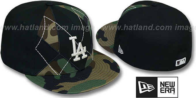 Dodgers 'ARMY CAMO BRADY' Fitted Hat by New Era : pictured without stickers that these products are shipped with