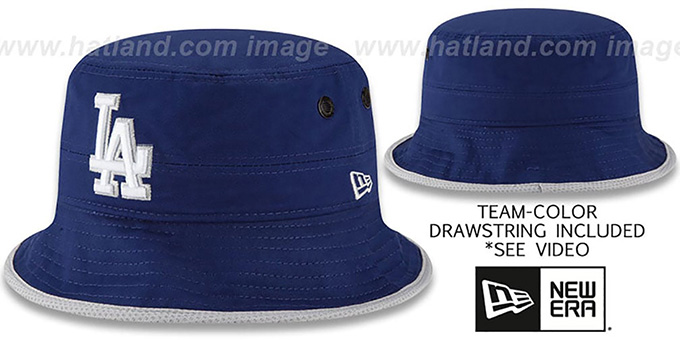 Dodgers 'BASIC-ACTION' Royal Bucket Hat by New Era : pictured without stickers that these products are shipped with