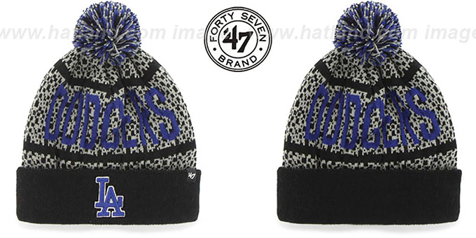 Dodgers 'BEDROCK' Black-Grey Knit Beanie Hat by Twins 47 Brand : pictured without stickers that these products are shipped with