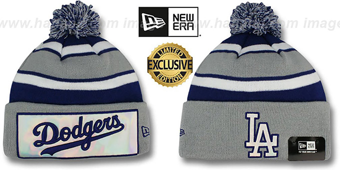 Dodgers 'BIG-SCREEN' Knit Beanie Hat by New Era : pictured without stickers that these products are shipped with