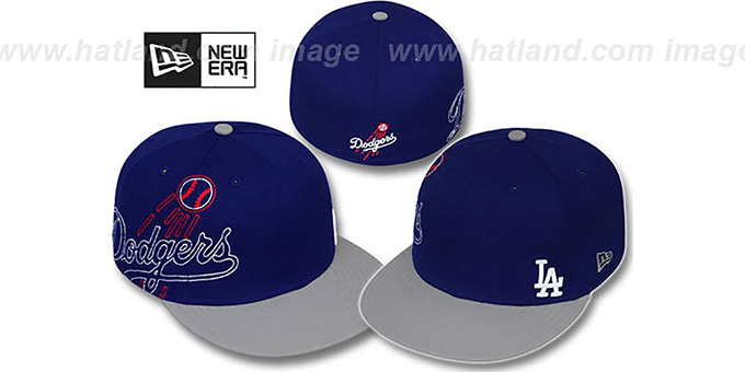 Dodgers 'BIG-STITCH' Royal-Grey Fitted Hat by New Era : pictured without stickers that these products are shipped with