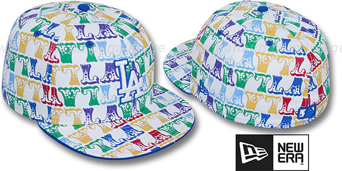 Dodgers 'BIG-TOP' White-Multi Fitted Hat by New Era : pictured without stickers that these products are shipped with