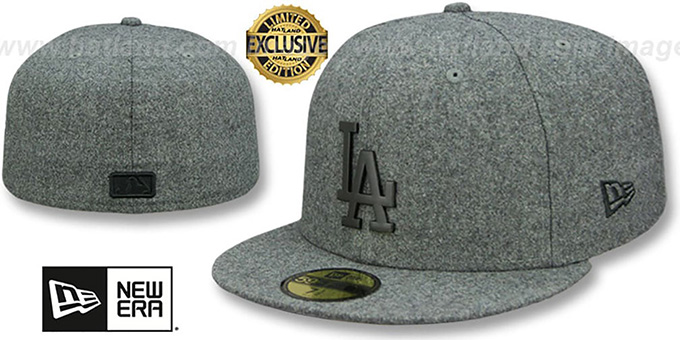 Dodgers 'BLACK METAL-BADGE' Melton Grey Fitted Hat by New Era