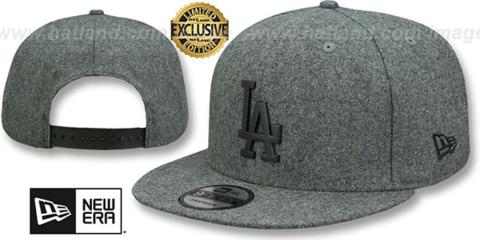 86cc1f43dc18bf Los Angeles Dodgers BLACK METAL-BADGE SNAPBACK Melton Grey Hat