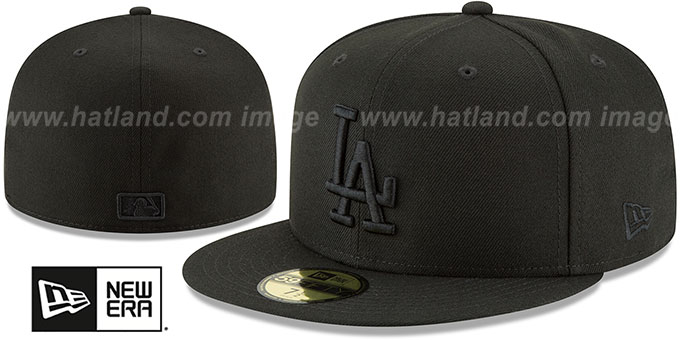 Dodgers 'BLACKOUT' Fitted Hat by New Era : pictured without stickers that these products are shipped with