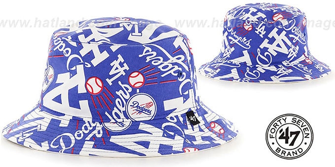 Dodgers 'BRAVADO BUCKET' Hat by Twins 47 Brand : pictured without stickers that these products are shipped with