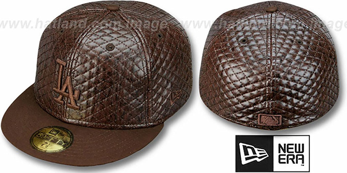 Dodgers 'BROWNOUT QUILTE' Fitted Hat by New Era : pictured without stickers that these products are shipped with
