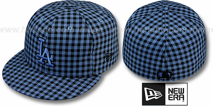 Dodgers 'BUFFALO GINGHAM' Sky-Black Fitted Hat by New Era : pictured without stickers that these products are shipped with
