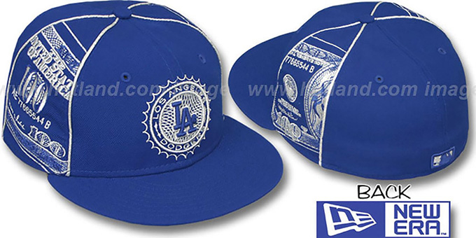 Dodgers 'C-NOTE' Royal-Silver Fitted Hat by New Era : pictured without stickers that these products are shipped with
