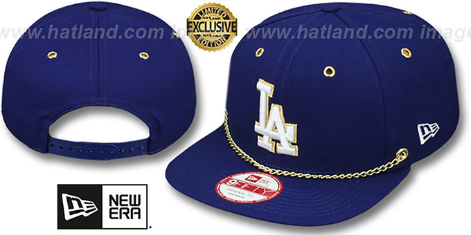 Dodgers 'CHAIN SNAPBACK' Royal Hat by New Era : pictured without stickers that these products are shipped with