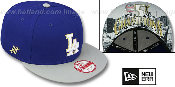 Dodgers 'CHAMPS-HASH SNAPBACK' Royal-Grey Hat by New Era : pictured without stickers that these products are shipped with